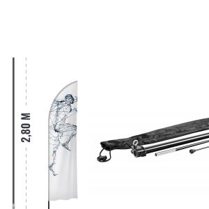 Beachflag Set - Mast 2,8m + Kreuzständer + Beschwerungsring